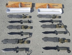 Commando knives intended to be smuggled into the Gaza Strip (The crossings authority of the Israeli ministry of defense, August 10, 2016).