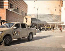 Forces of the Government of National Accord inside the Ouagadougou Conference Center complex, used by ISIS as its headquarters in Sirte.