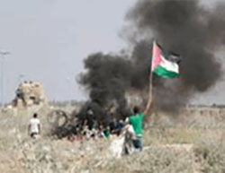Palestinians riot east along the border security fence east of Gaza City (Twitter account of Palinfo, August 26, 2016).