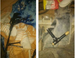 An improvised gun (left) and a pipe bomb (right) found in an Israeli security force action in the Nur al-Shams refugee camp in Tulkarm (Facebook page of the Israel Police Force, September 11, 2016).