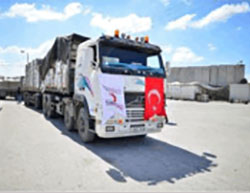 Trucks carrying humanitarian aid from Turkey enter the Gaza Strip through the Kerem Shalom crossing (Paltimes, September 8, 2016).