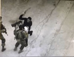 Documentation of the attack from a security camera in Hebron.