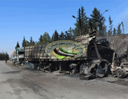Trucks from the aid convoy the day after the attack (Syrian Observatory for Human Rights, September 20 2016).