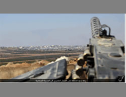 An ISIS combat position, consisting of a heavy machine gun, on a hill overlooking the Aleppo industrial zone - Shaykh Najjar (Haq, September 16, 2016).