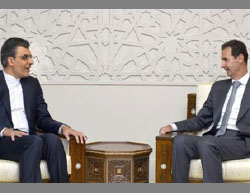 Jaberi Ansari (left) and Bashar Assad (Fars, September 19, 2016)