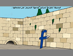 The Facebook icon prays as the Western Wall. The Arabic reads,