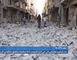 The destruction of the Karam al-Maysar neighborhood in the eastern part of Aleppo (Aleppo Today channel, September 26, 2016).