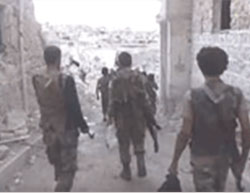Fateh Aleppo operatives in the Handarat Palestinian refugee camp (YouTube, September 24, 2016).