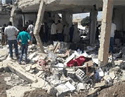 The building destroyed in the suicide bombing attack in Inkhil (Haq, September 22, 2016).