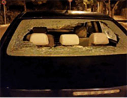 Palestinians throw stones at Israeli vehicles as a manifestation of popular terrorism.
