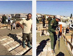 Operatives of the Palestinian national security forces help rebuild the house of Palestinian terrorist Ahmed Zakarna in the town of Qabatiya (Facebook page of Jenin al-Hadath, November 8, 2016)