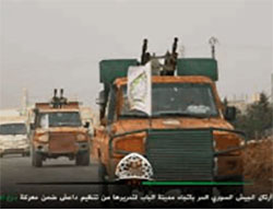 Trucks carrying Free Syrian Army anti-aircraft guns en route to Al-Bab (Twitter account, November 13, 2016)