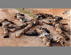Bodies of Kurdish fighters killed by ISIS west of Al-Bab.