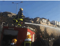 Palestinian Authority fire fighters help put out a fire in Haifa  (Huriya Post, November 26, 2016)