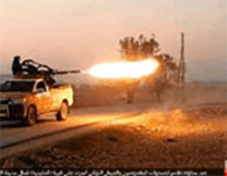 ISIS anti-aircraft fire at Free Syrian Army and Turkish Army forces that tried to advance toward Qabasin (Haqq, November 26, 2016)