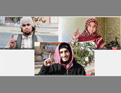 Top left: The suicide bomber Abu Hamza the Iraqi. Top right: The suicide bomber Abu Mujahed the Moroccan. Bottom: The suicide bomber Saad the Dagestani (Haqq, December 5, 2016)