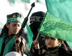 Children participate in Hamas marches in Khan Yunis (Facebook page of Shehab, December 11, 2016).