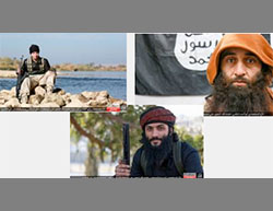 Suicide bombers who carried out a terrorist attack against the Iraqi security forces in the Al-Tamim neighborhood (Haqq, December 9, 2016). Right: The suicide bomber Abu Ahmed the Syrian. Center: Abu Hamza al-Moslawi. Left: Abu al-Ghamedi Kanasfera (?) (Haqq, December 9, 2016)