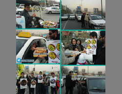 Student Basij members distribute candy and pastries in Tehran to celebrate the fall of Aleppo to Assad's forces (Iranian Telegram channel, December 14, 2016).