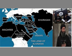 An English-language map of the Islamic caliphate, with Al-Baghdadi's picture to the right (hanein.info)
