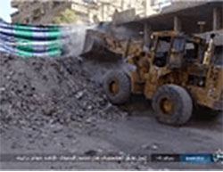 Erecting earthworks and barricades in the Al-Yarmouk refugee camp  (justpaste.it, December 15, 2016)