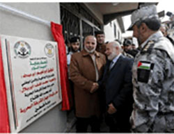 Ceremony opening of naval police headquarters in Gaza. Present were Ahmed Bahar, deputy head of the Hamas faction of the Palestinian Legislative Council, and Tawfiq Abu Na'im, commander of the security forces in the Gaza Strip (Website of the ministry of the interior in the Gaza Strip, December 22, 2016).