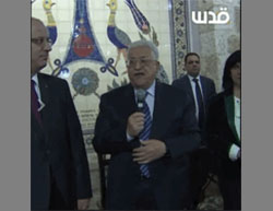 Mahmoud Abbas praises the UN Security Council resolution during a visit to a Christmas event in Bethlehem (Facebook page of QudsN, December 25, 2016).