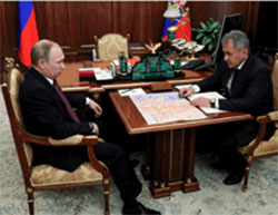 Defense Minister Sergei Shoigu updates President Putin on the operation to liberate Aleppo (Russian Defense Ministry website, December 23, 2016)