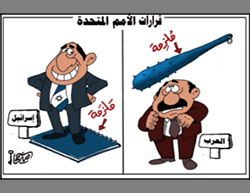 Cartoon by Hamas-affiliated Omaya Joha doubts Israel will implement the resolution. Left: Israel stands on the resolution, keeping it from being implemented Right: The resolution will be used as a club to force the Palestinians to carry out UN resolutions (Hamas' al-Risalah, December 27, 2016)