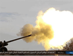 ISIS gun firing at Syrian Army positions northeast of the T-4 military airfield.