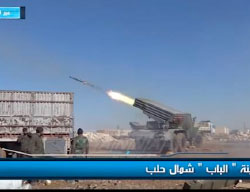 Syrian Army launching rockets in the city of Al-Bab.