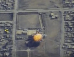 Photos from a video showing a Russian attack against an ISIS headquarters in Al-Raqqah  (the Russian Defense Ministry, February 18, 2017)