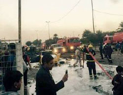 The scene of the attack in Madinat Sadr, the Shiite quarter in Baghdad (Shafaq News, February 15, 2017)