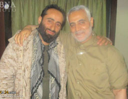 Mostafa Zalnejad (left) with Islamic Revolutionary Guards Corps commander Qasem Soleimani (ABNA, February 14, 2017).