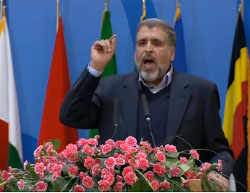 PIJ leader Ramadan Shalah delivers a speech at the conference (YouTube, February 21, 2017)