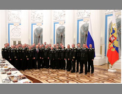 Meeting of members of the Russian Navy with President Putin.