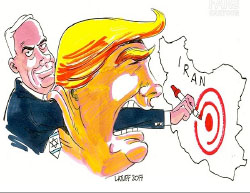 President Donald Trump and the Israeli prime minister hiding behind him marked Iran as a target (Fars News, February 15, 2017).