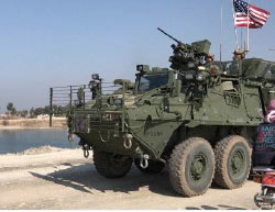 The US flag on a US Army armored vehicle in the Manbij area (Twitter, March 4, 2017)