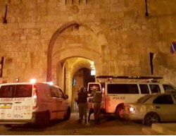 Stabbing attack at the Lion Gate in the Old City of Jerusalem.