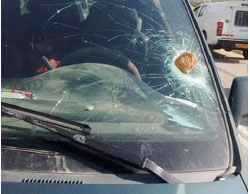 Israeli vehicle damaged by a stone thrown near Yitzhar, southeast of Nablus (Facebook page of Shehab, March 9, 2017).