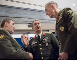Joseph Dunford, Chairman of the Joint Chiefs of Staff (right), Turkish Army Chief of Staff Hulusi Akar (center) and Russian Chief of Staff Valery Gerasimov (left), at a meeting in Antalya (US Department of Defense website, March 6, 2017)