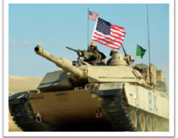 American tank with the US flag in the Manbij area (Al-Jadeed News, March 12, 2017).