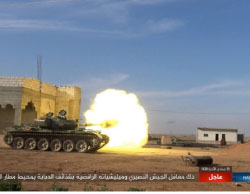 Firing tank shells at Syrian Army positions in the area of the Al-Jarah Airport  (Haqq, March 9, 2017)