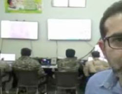 Joint Syrian-Iranian operations room set up in Aleppo before the Syrian Army attack in October 2015, with the participation of Iranian fighters. The poster in the upper left-hand corner shows Khomeini, Khamenei and an unidentified person. The Iranian correspondent who reported about the activity of the operations room is seen on the right (Fars, October 22, 2015)