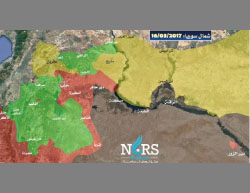 Map of the areas of control in the area of Al-Raqqah and Manbij (marked with red circles), updated to March 16, 2017: In brown, the area controlled by ISIS; In yellow, SDF; In red, the Syrian Army; In green, the Free Syrian Army (under the protection of Turkey) (NORS Center for Strategic Studies, March 16, 2017).