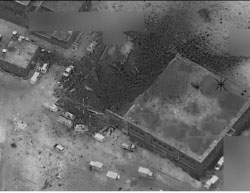 Aerial photo released by the US Department of Defense proving that the mosque was not hit (US Department of Defense photo, March 17, 2017).