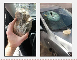 Israel vehicle damaged by rocks thrown by Palestinians near the village of Husan, west of Bethlehem (Facebook page of QudsN, March 26, 2017).