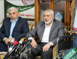 Hamas leadership delegation at the home of Ahmed Yassin in Gaza City (Hamas movement Twitter account, March 22, 2017)
