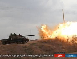 ISIS fire at Syrian Army positions southeast of Deir Hafer.