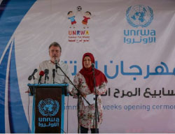 Bo Schack, director of UNRWA operations in the Gaza Strip, officially opens the agency's summer camps, 2016 (Felesteen, July 23, 2016). According to UNRWA, 165 thousand children attended its summer camps in 2016. The camps were another point of conflict between UNRWA on the one hand and Hamas and other extreme Islamic elements on the other, but in recent years the conflict seems to have died down somewhat.